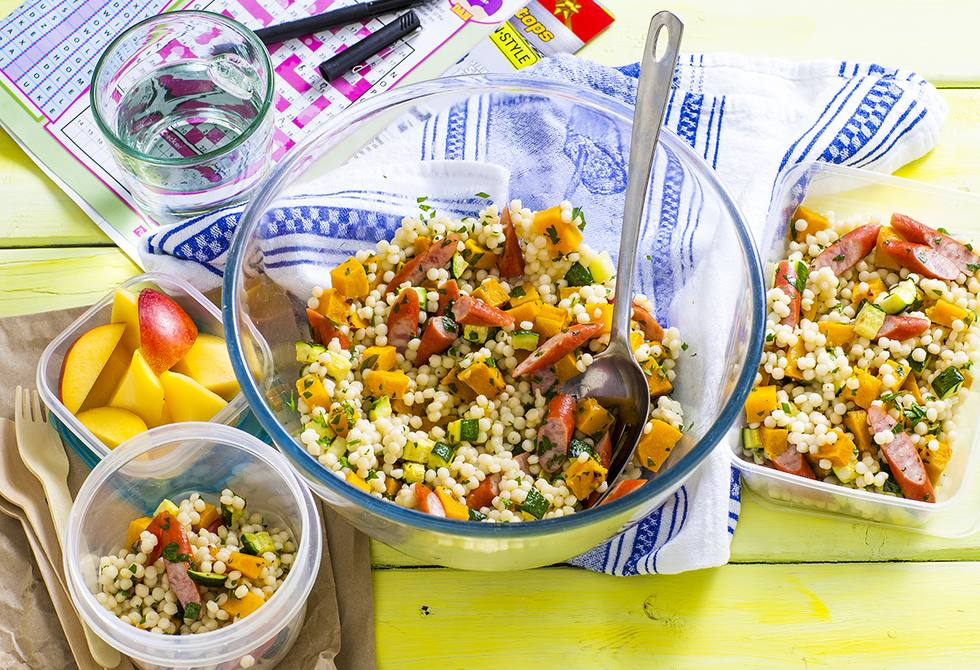 Vegetable pearl couscous with twiggy sticks