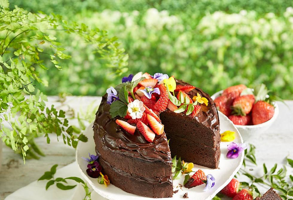 Chocolate, zucchini and spinach cake with avocado chocolate frosting