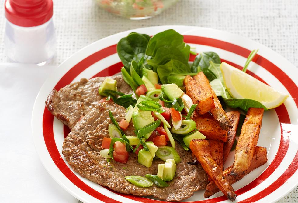 Veal with avocado salsa and sweet potato wedges