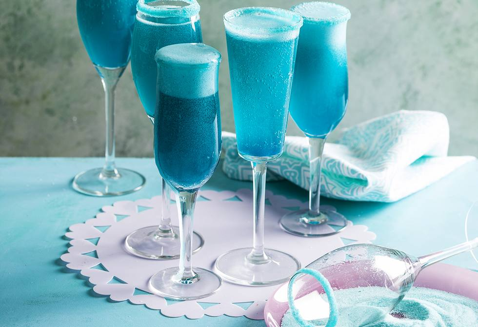 Teal champagne cocktail