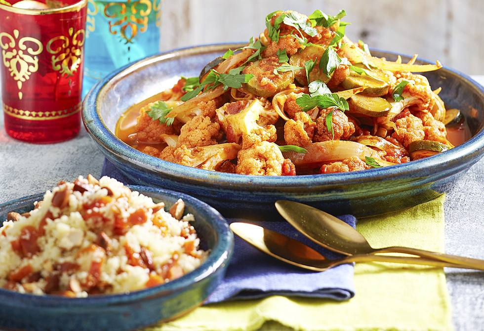Cauliflower tagine with apricot almond couscous