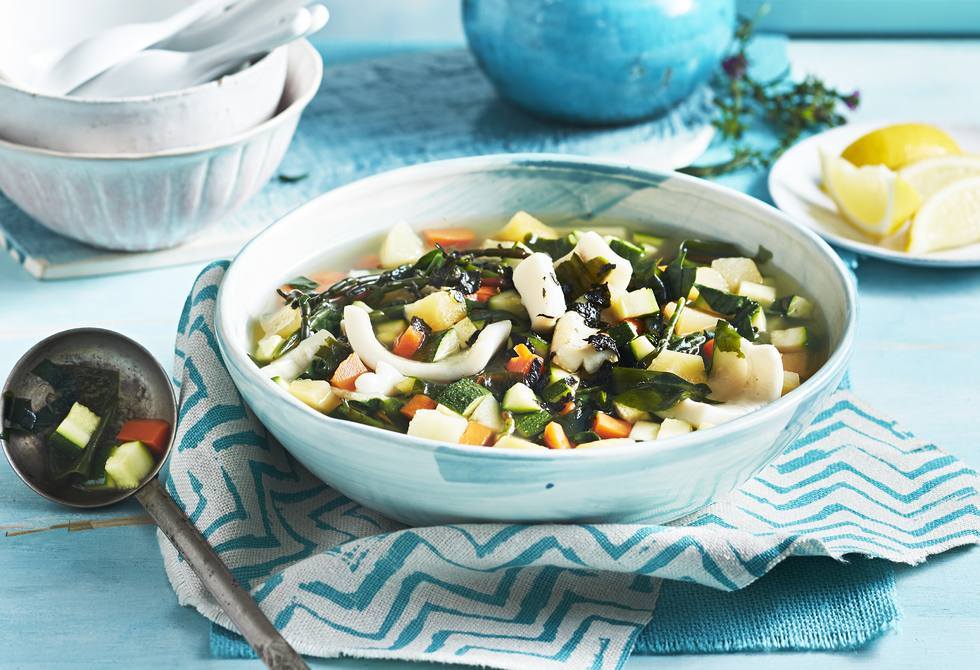 Stone soup with squid and beach vegetables