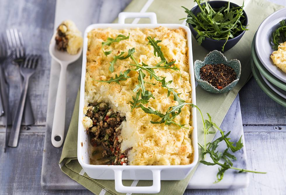 Beef and lentil pie with cauliflower topping
