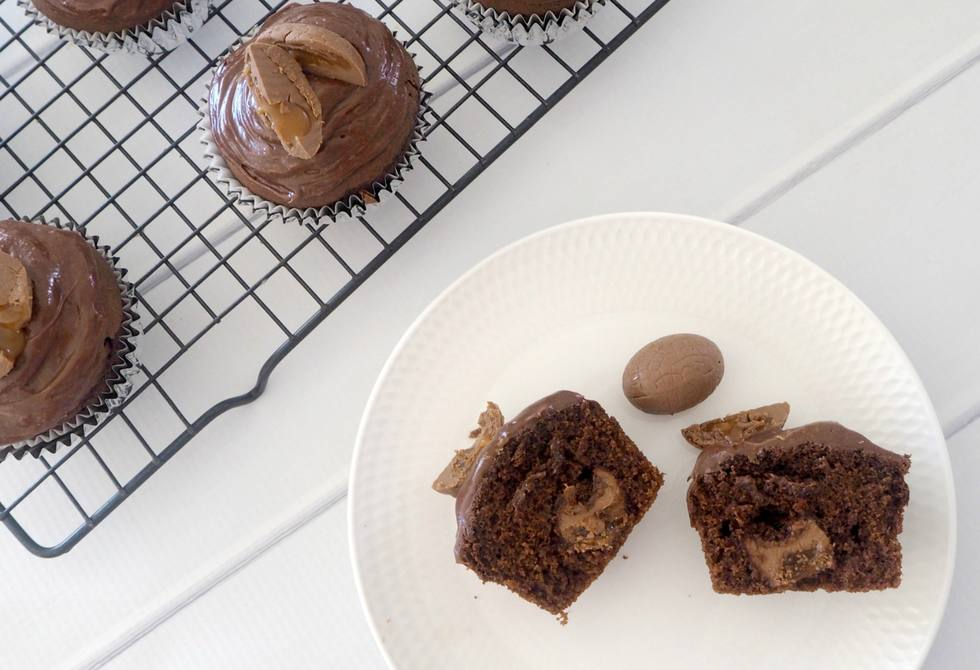 Chocolate and caramel Easter egg muffins