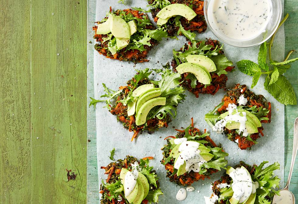 Kale and sweet potato fritters with herb sauce