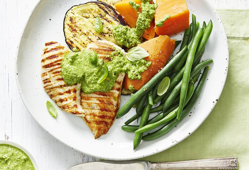Grilled chicken and eggplant with pesto sauce