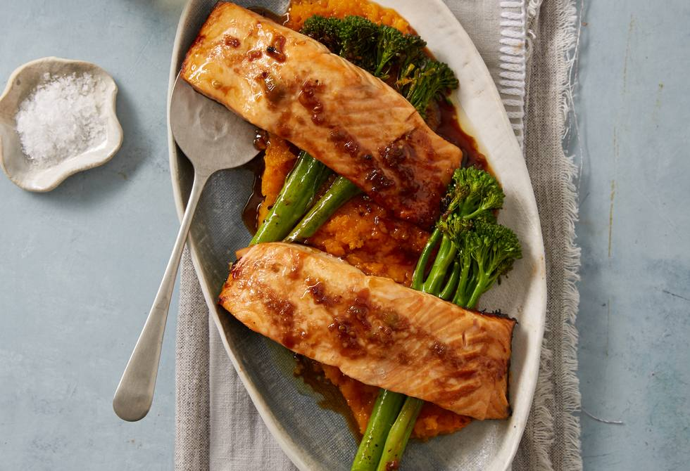 Wasabi salmon with broccolini and pumpkin