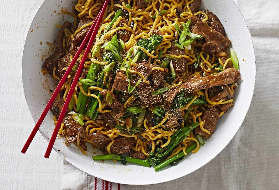Beef and broccolini noodle stir fry