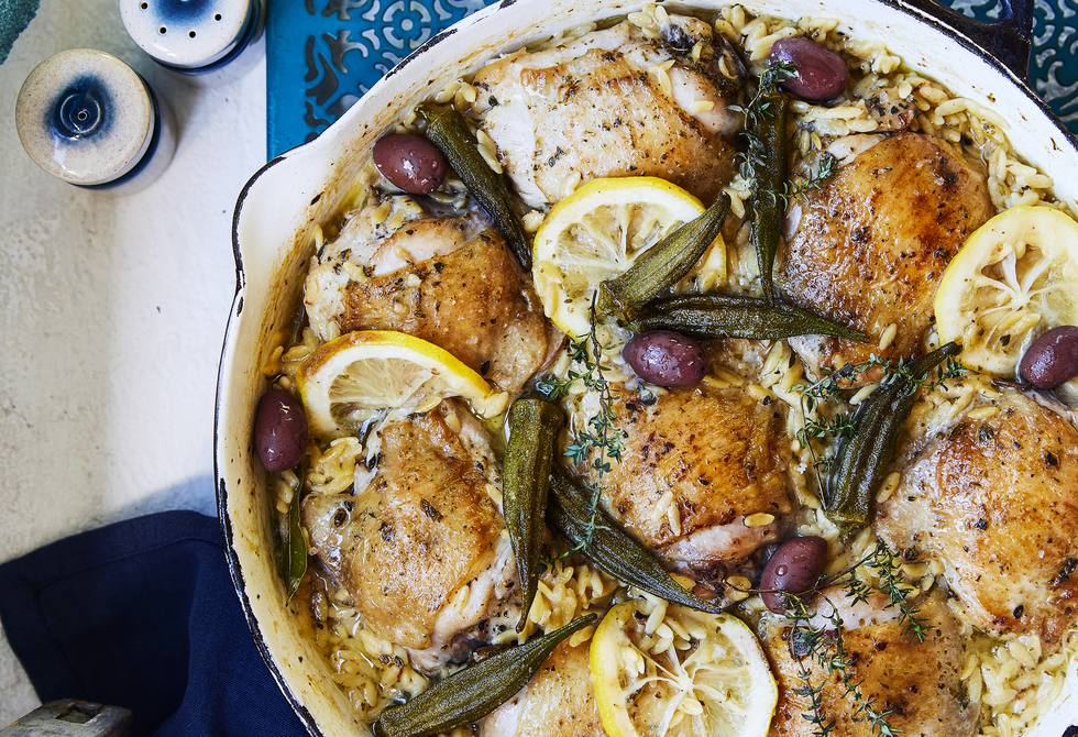 Greek lemon and oregano chicken with orzo