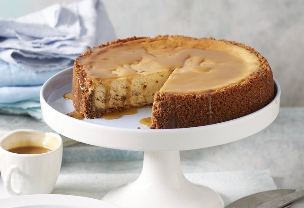 Baked sticky date cheesecake with butterscotch sauce