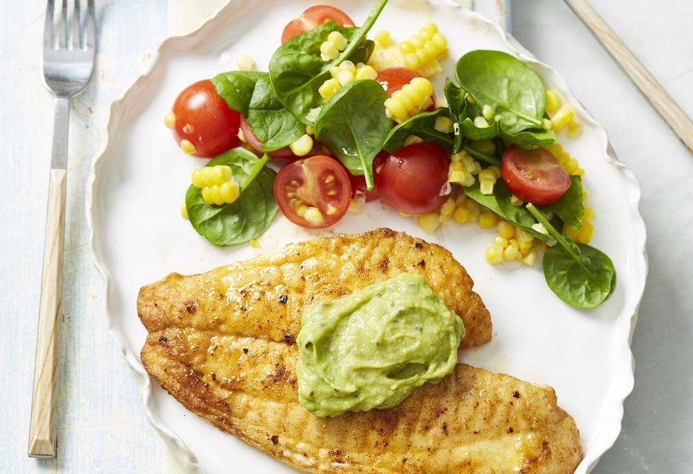 Mexican spiced fish with corn salad