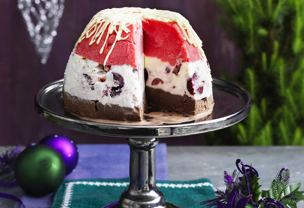 Frozen choc cherry and berry bombe
