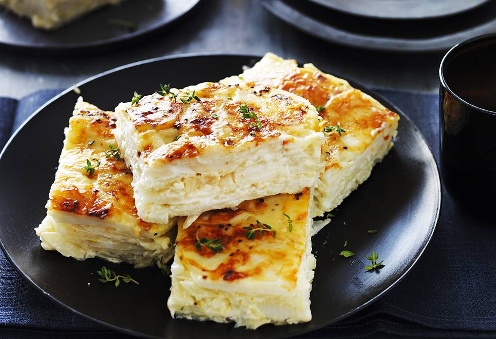 Fennel and potato gratin with goat's cheese