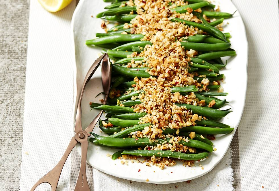 Green beans with walnut, lemon and chilli crumbs