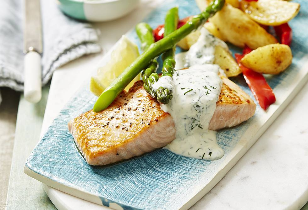 Salmon with chats, asparagus and dill lemon sauce