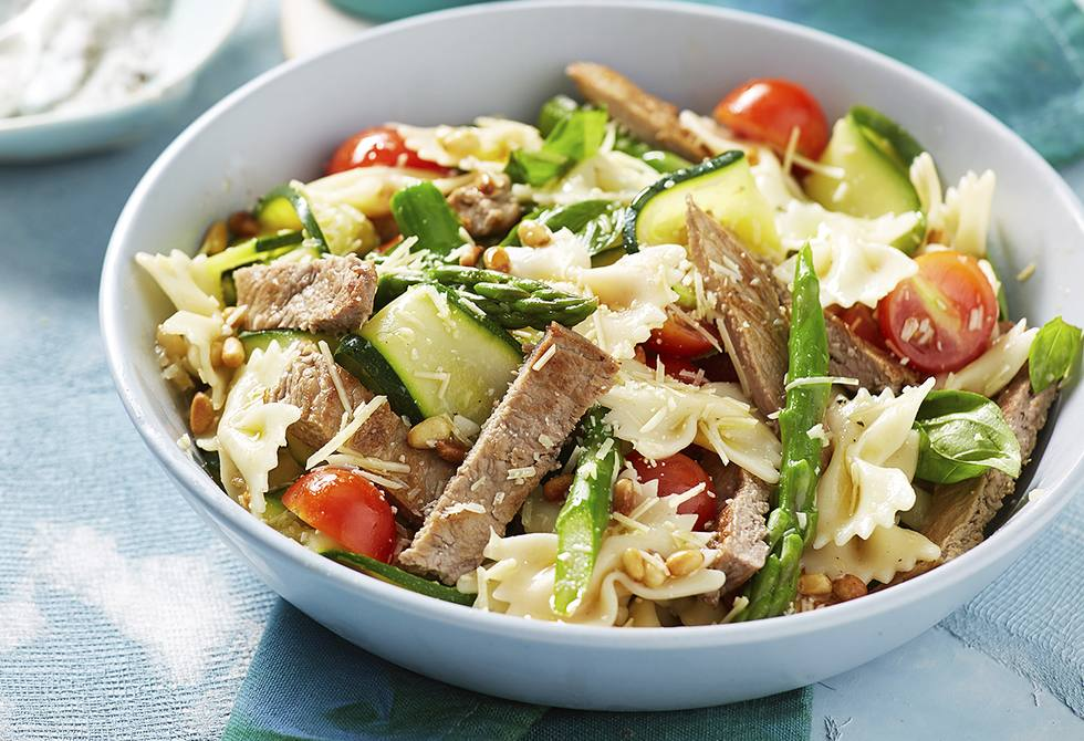 Pan-fried veal and Italian pasta salad