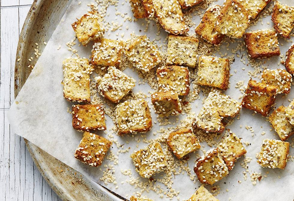 Gluten-free speckled herby croutons