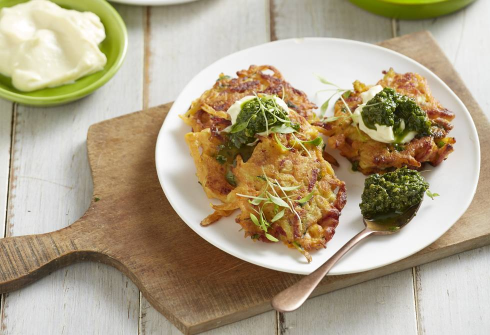 Sweet potato and salami fritters