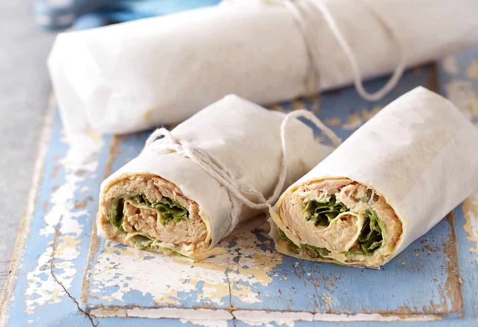 Tuna and olive hummus wraps