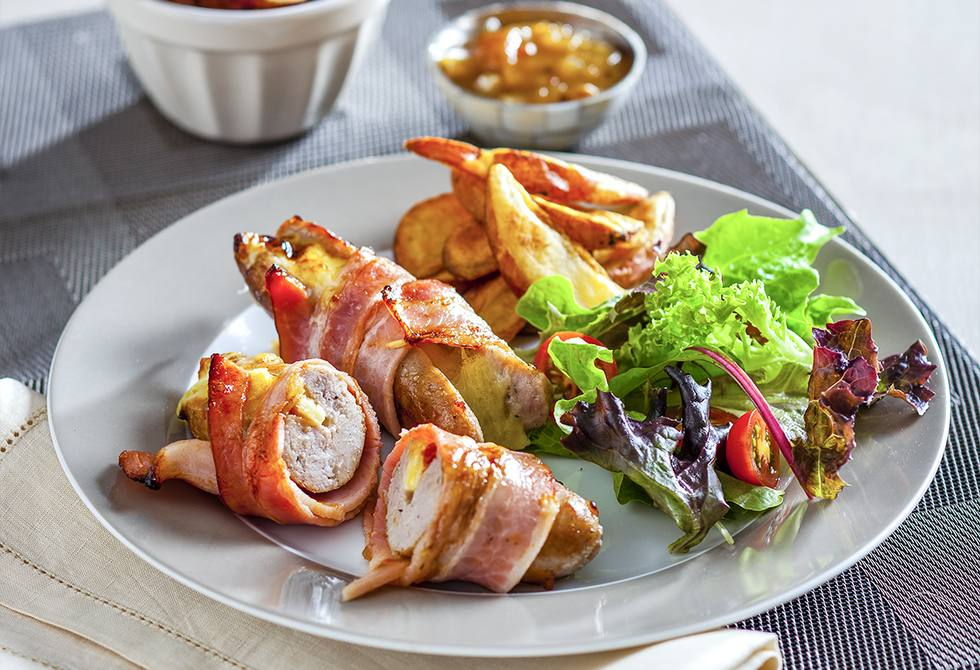 Cheese & bacon sausages