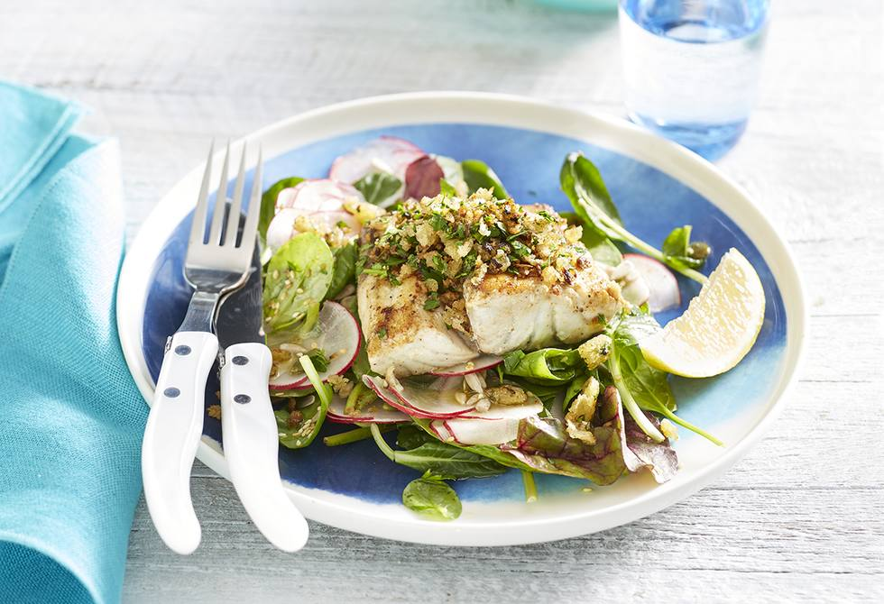 Buttered barramundi with a herb crumb and spiked salad