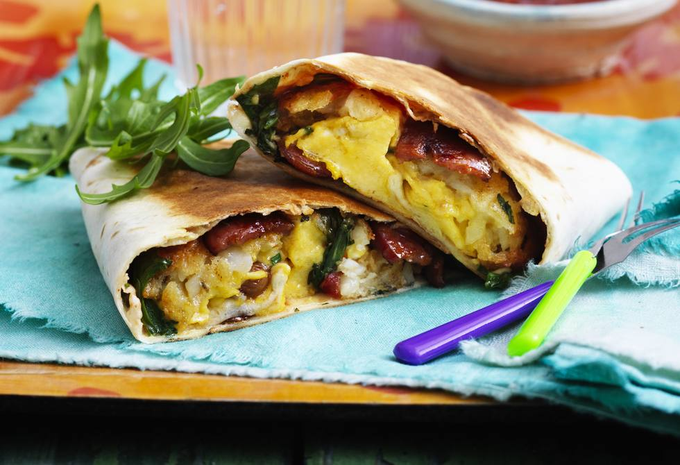 Chorizo, egg and hash brown brekkie burritos Recipe | Foodiful