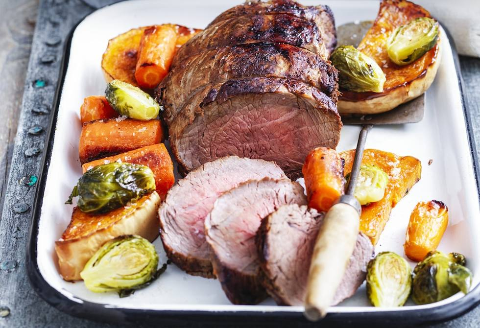 Roast beef and vegetables with onion gravy