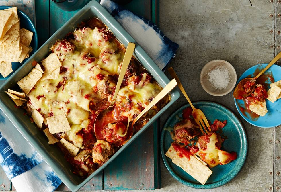 Cheesy baked Mexican meatballs