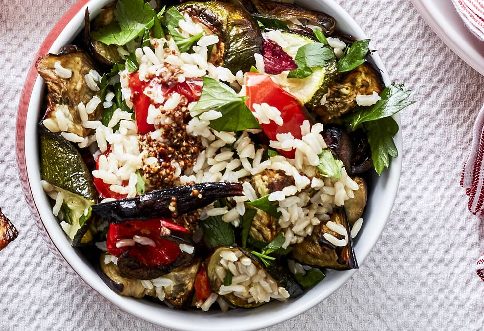 Brown rice and roast vegetable salad