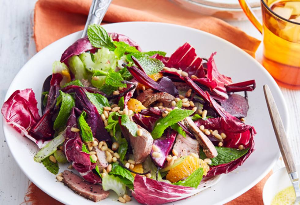 Roasted beetroot, mint and lamb salad
