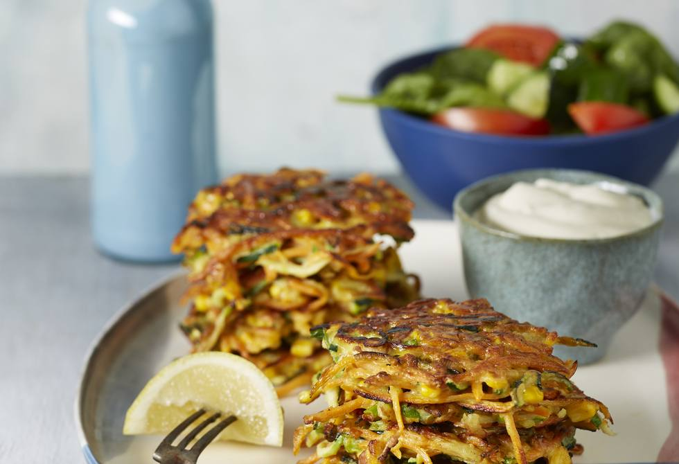 Curried corn, carrot and zucchini fritters