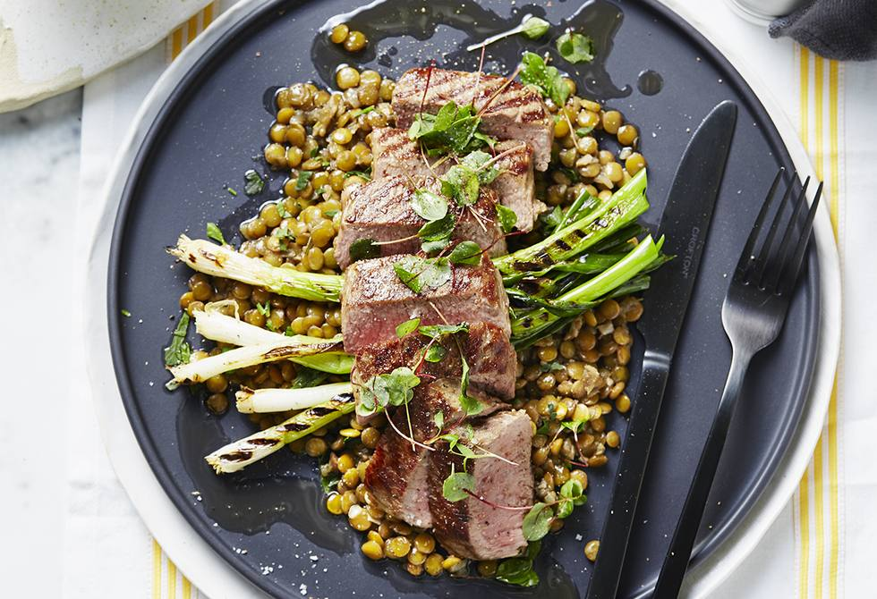 Lamb with lentils and grilled shallots