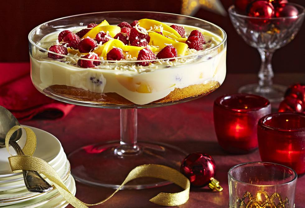 Quick mango raspberry and coconut trifle recipe foodiful for Quick and easy trifle dessert recipes