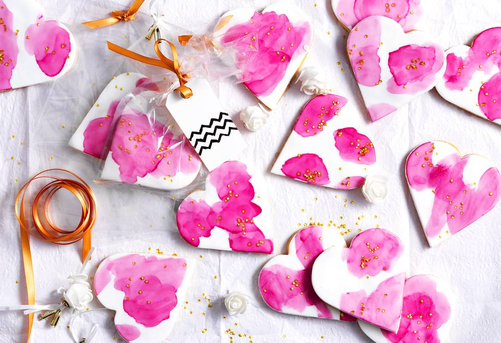 Watercolour heart biscuits