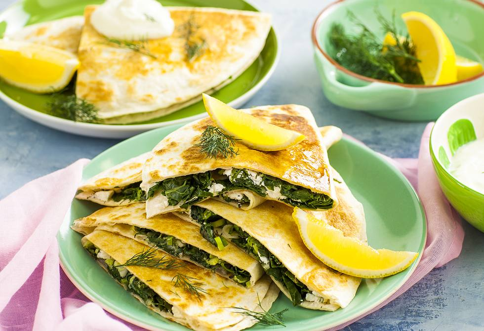 Greek spinach & feta quesadillas