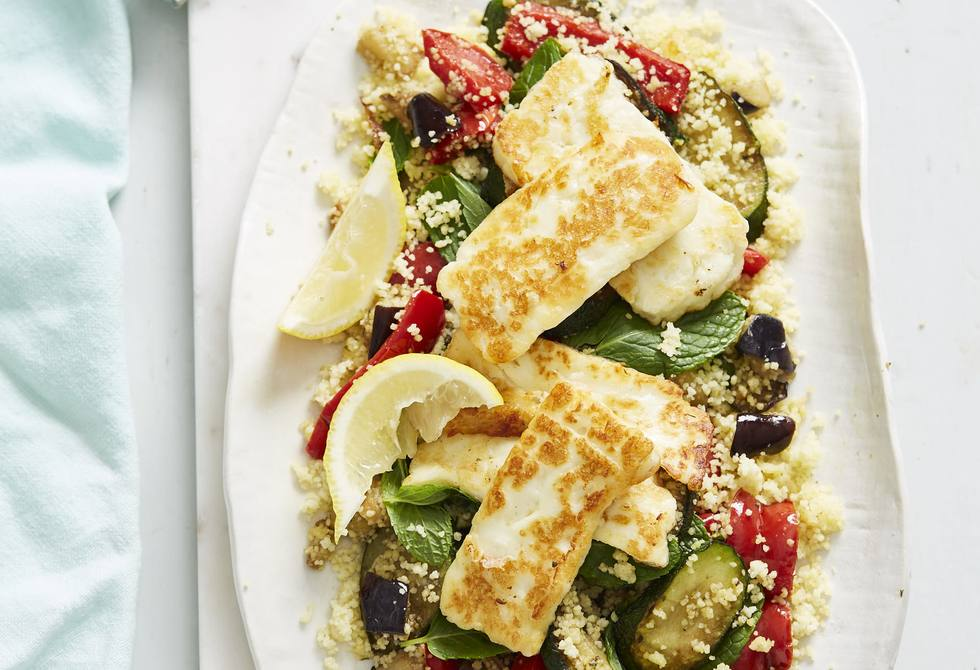 Greek vegetable couscous with haloumi