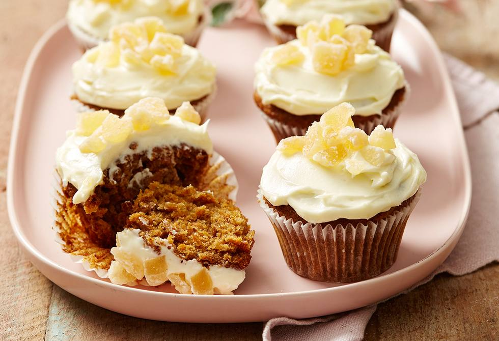 Spiced carrot & pineapple cupcakes with creamy frosting