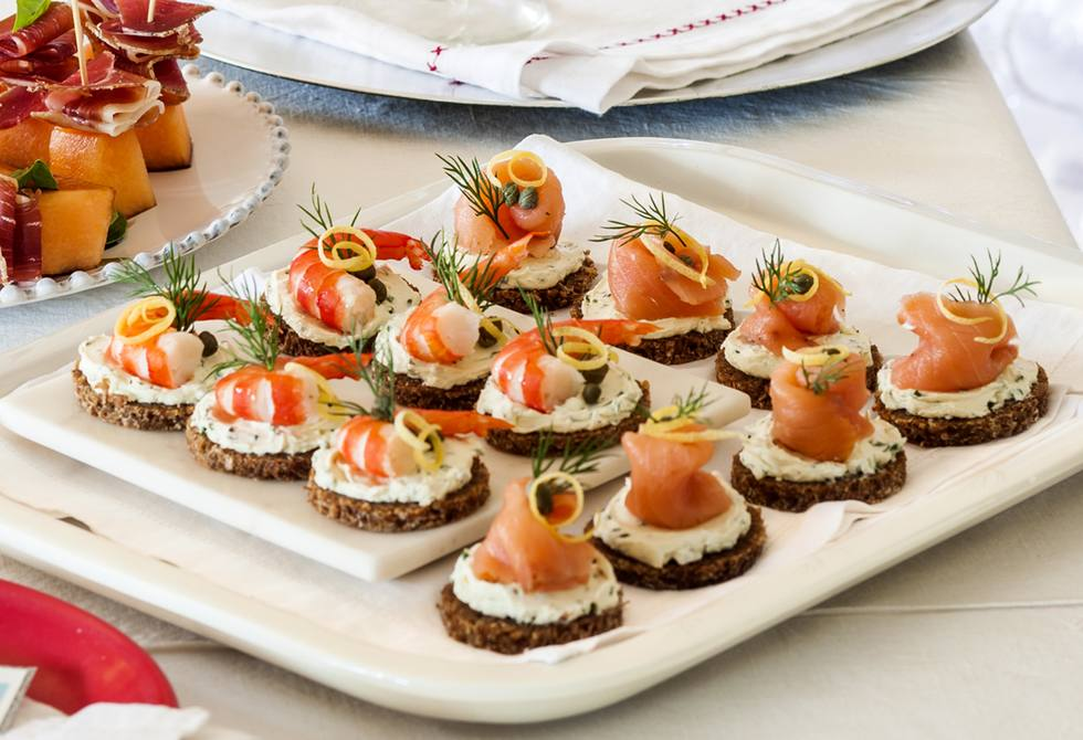Smoked salmon prawn canap s recipe foodiful for Salmon canape ideas