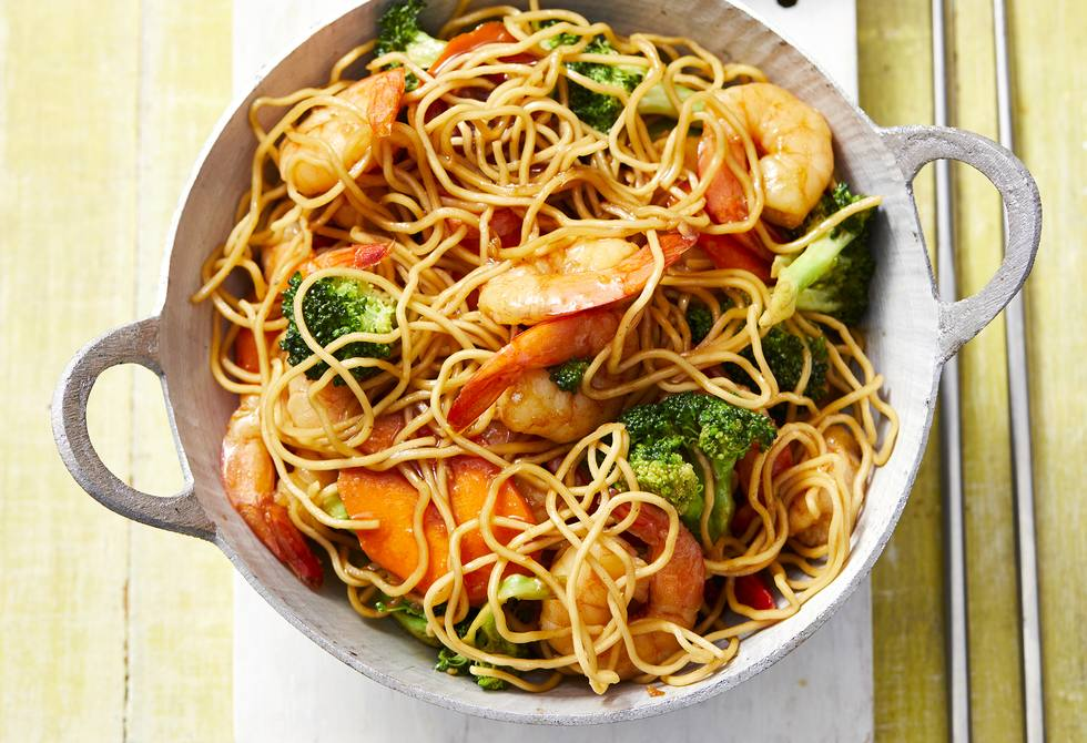 Ginger and soy prawn noodle stir-fry