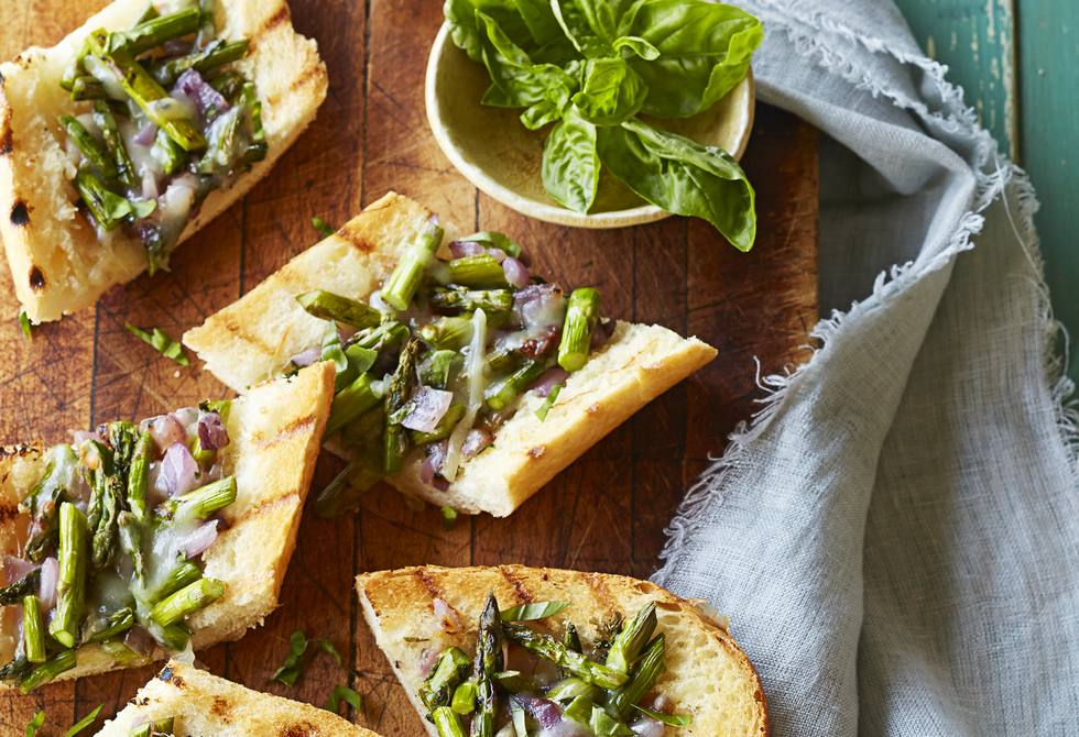 Grilled asparagus and onion crostini
