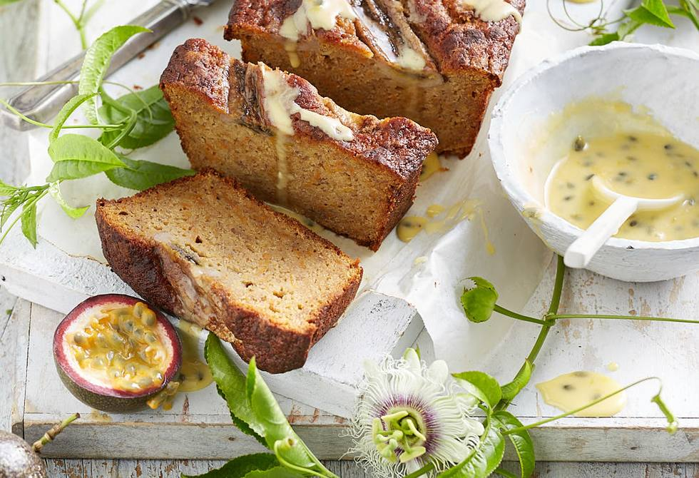 Sweet potato and banana loaf with passionfruit drizzle