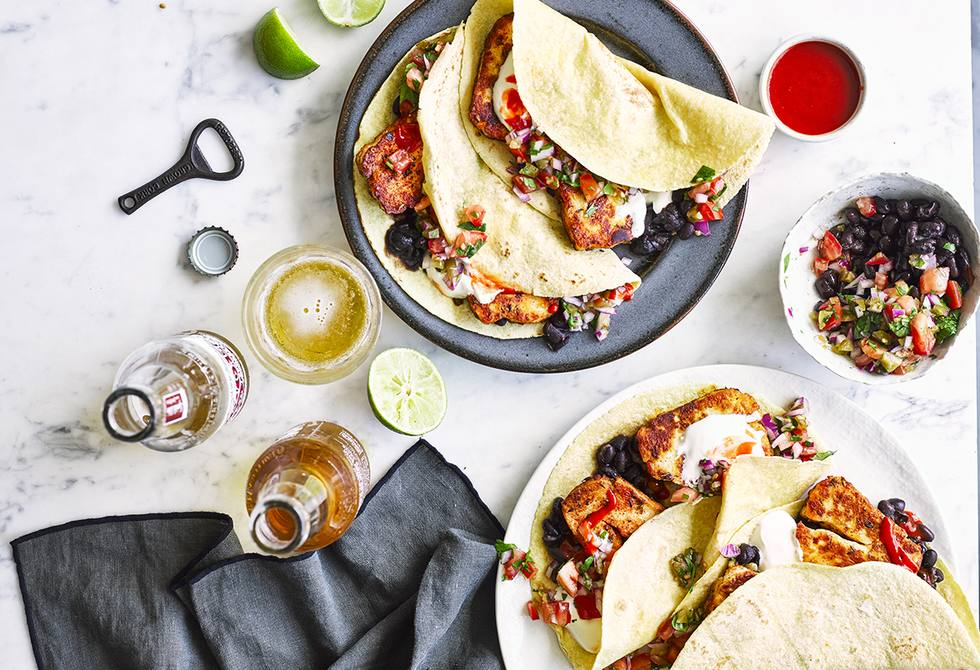 Crusted haloumi tacos with Mexican tomato salsa