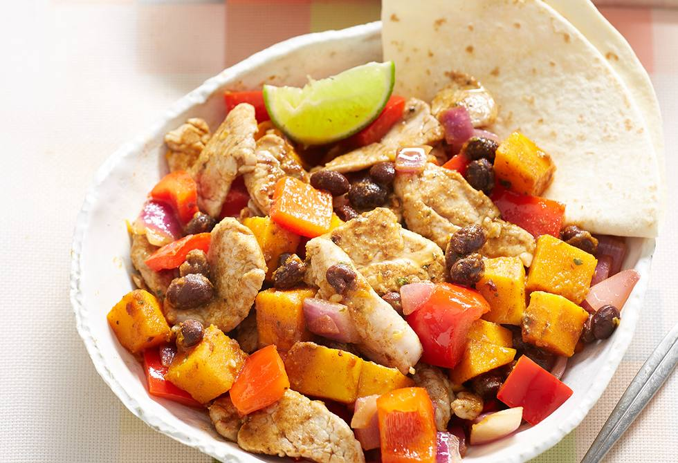 Pork with Mexican pumpkin and black beans