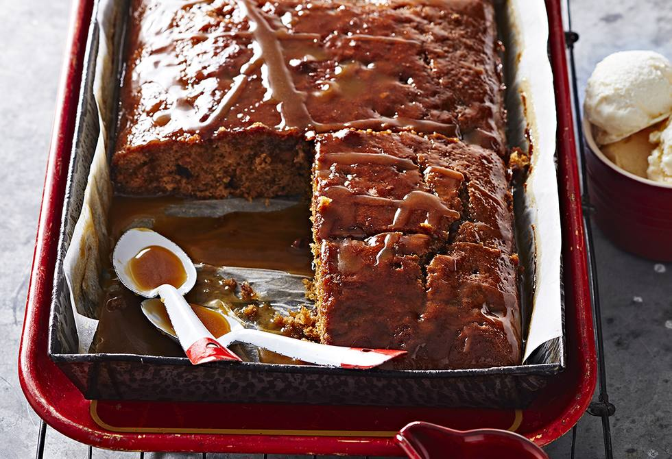 Sticky date slab cake with salted caramel sauce