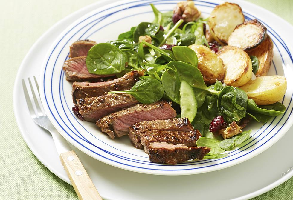 Honey mustard beef with spinach cranberry salad