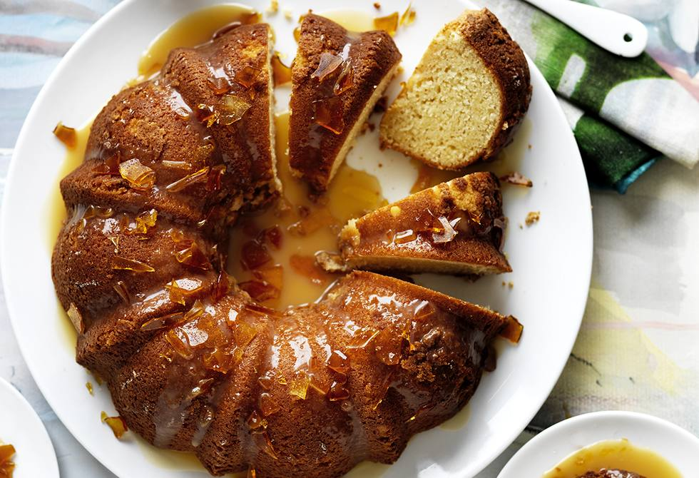 Yoghurt & maple syrup cake with salted caramel drizzle