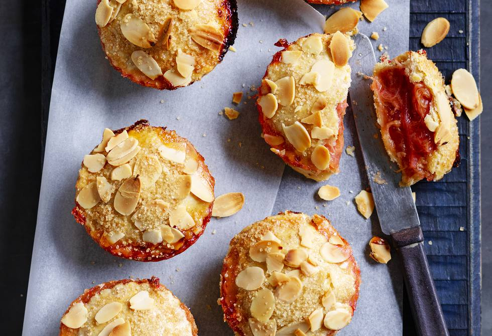 Rhubarb, apple and almond pies