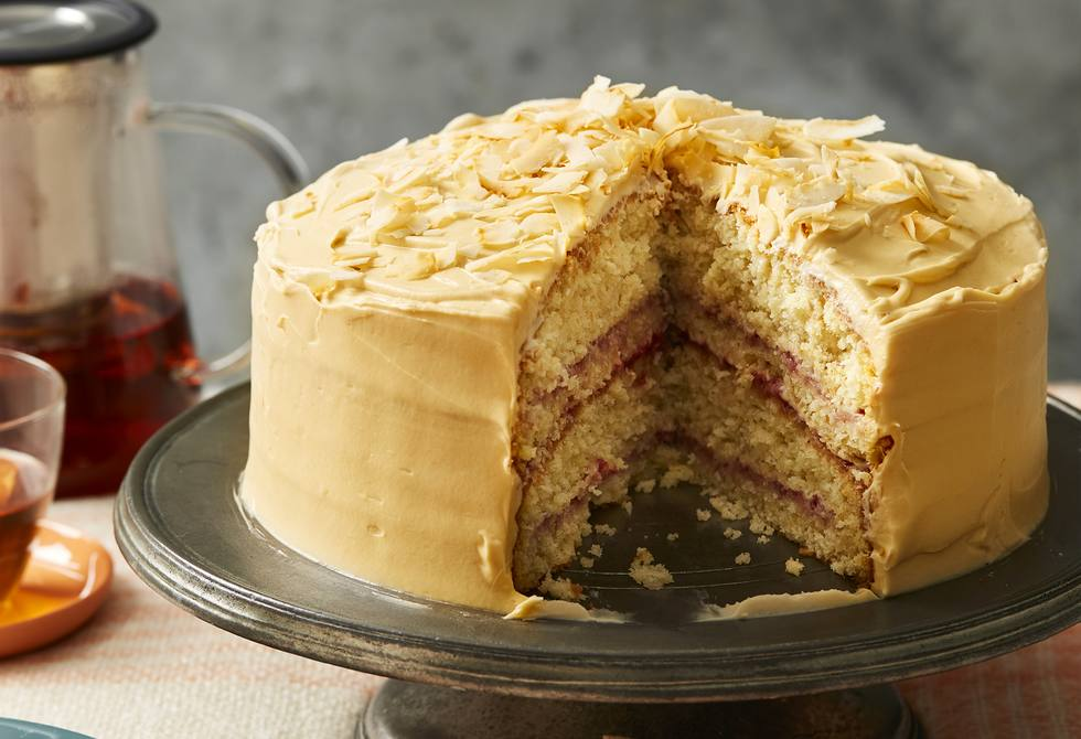 Salted Jersey caramel frosted raspberry coconut cake