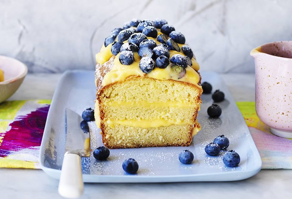 Vanilla buttermilk loaf with blueberries and lemon curd