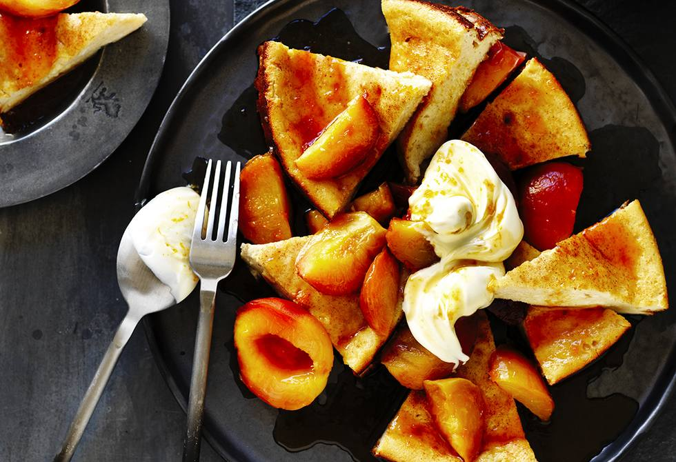 Baked ricotta with orange syrup plums